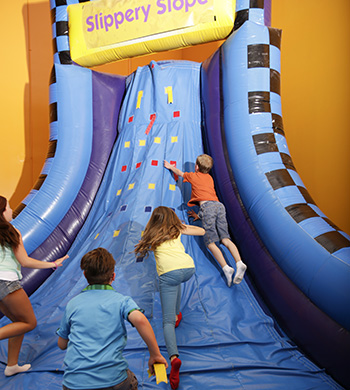 Each bounce house in our indoor playground is great for kids