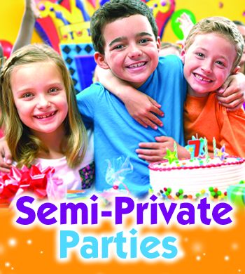 Many birthday party places do semi-private parties. Pump It Up does them right.