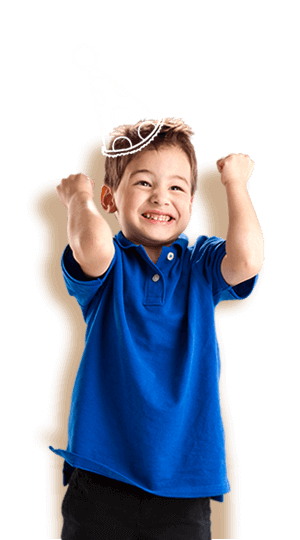 A young boy is pumped to celebrate his birthday party at the best indoor birthday party place
