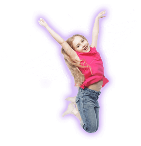 A girls with angel wings jumps for joy because she gets to play in one of Pump It Up's indoor bounce houses