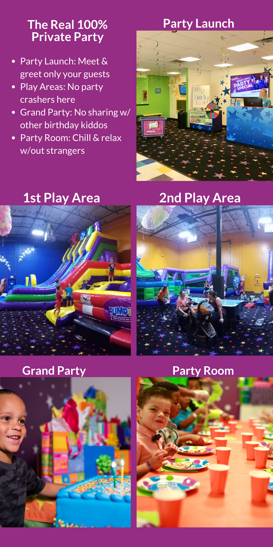 100% private birthday parties at Pump It Up