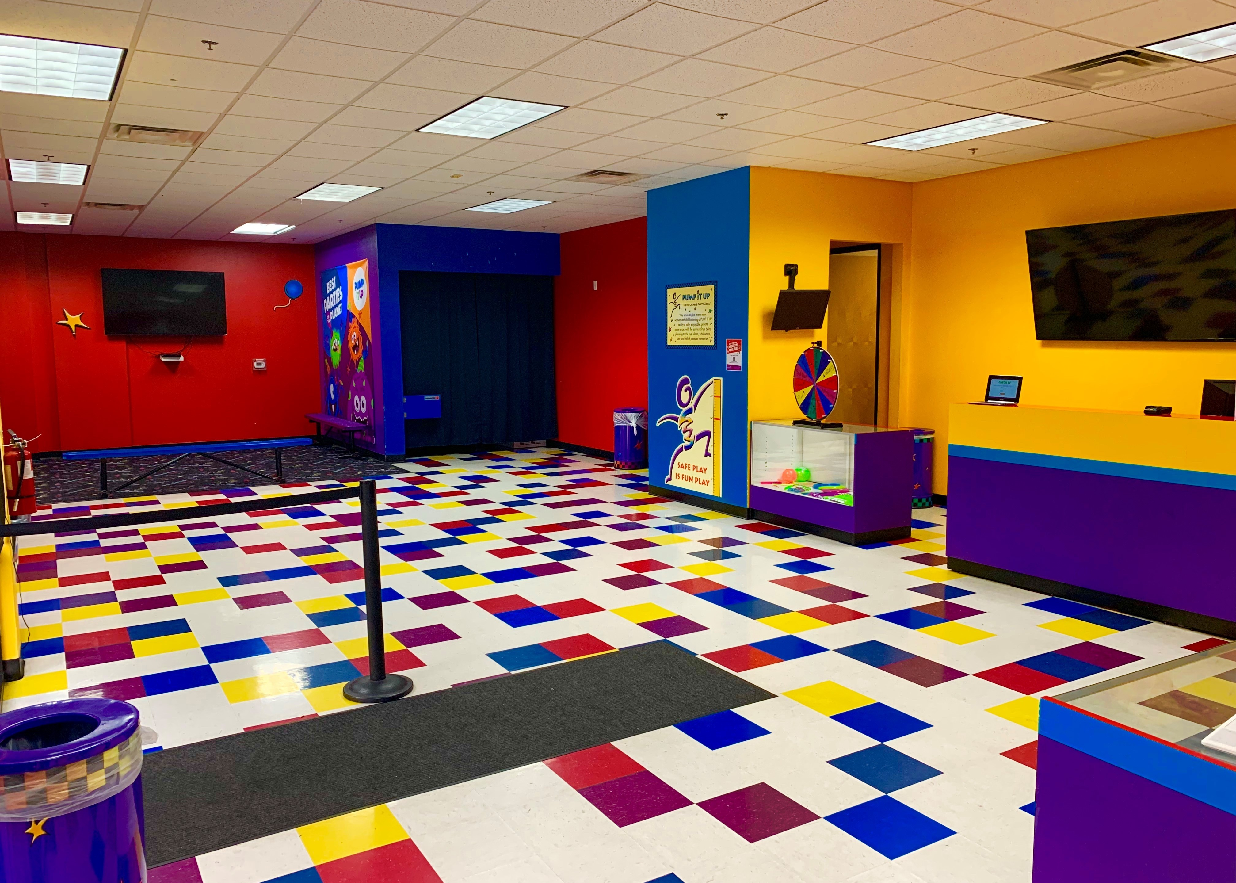 Pump It Up lobby of a kid's private birthday party place.